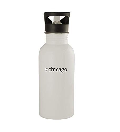 Knick Knack Gifts #Chicago - 20oz Sturdy Hashtag Stainless Steel Water Bottle, White