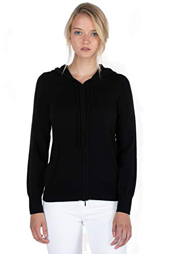 JENNIE LIU Women's 100% Pure Cashmere Long Sleeve Zip Hoodie Cardigan Sweater (XL, Black)