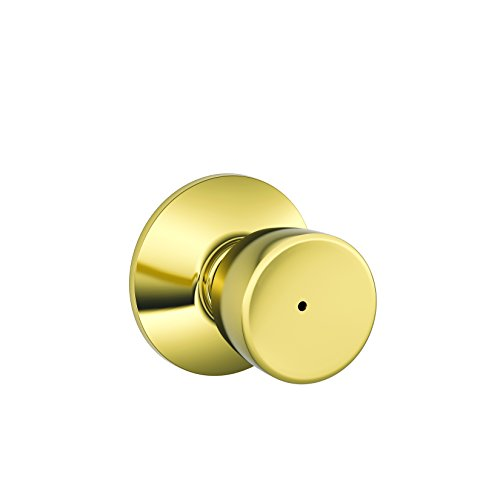 Bell Knob Set Privacy Lock (Schlage F40-BEL Bell Privacy Door Knob Set, Polished Brass x Polished Chrome)
