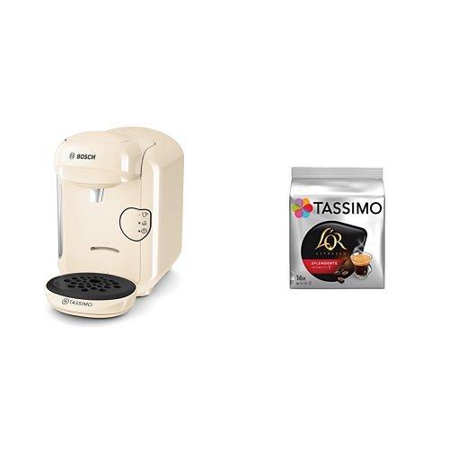 Bosch TAS1407 Tassimo Vivy 2 (color vainilla) + Pack café 5 paquetes (80 cápsulas) Tassimo Splendente