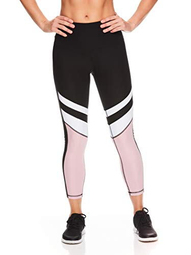 Reebok Women's 7/8 Workout Leggings w/High-Rise Waist - Performance Compression Athletic Tights - Frame Colorblock Black/Zephyr Multi, Small