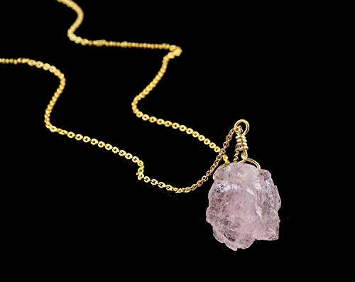 Raw Morganite Pendant Necklace Natural Gemstone Handmade Dainty Jewelry 14K Gold Fill 925 Sterling Silver 18
