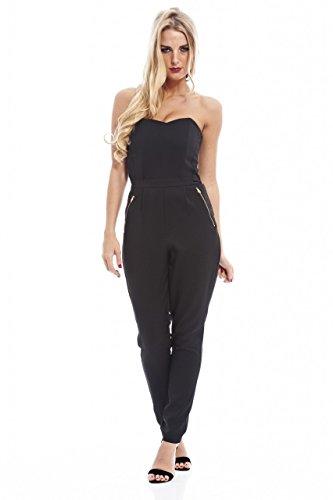 UPC 889020036721, AX Paris Women's Sweetheart Zip Long Jumpsuit(Black, Size:10)