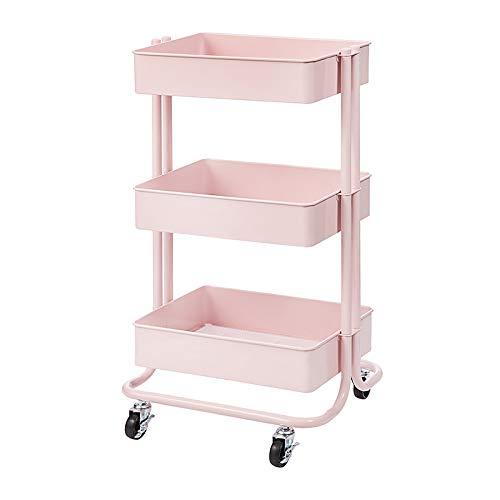 Darice 30043103 3-Tier Metal Rolling Blush Pink, 30 Inches Storage Cart