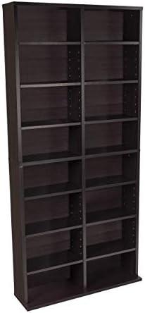 Atlantic Oskar Adjustable Media Cabinet - Holds 464 CDs, 228 DVDs or 276 Blu-rays, 12 Adjustable and four mounted cabinets PN38435719 in Espresso