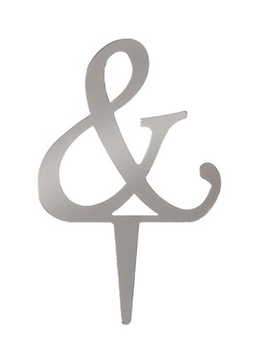 Darice VL25ASP Mirror Acrylic Ampersand Letter Wedding Cake Topper with Stake, 2.5-Inch, -