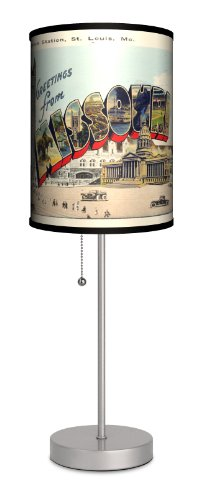 Travel - Missouri Postcard Sport Silver Lamp by Lamp-In-A-Box