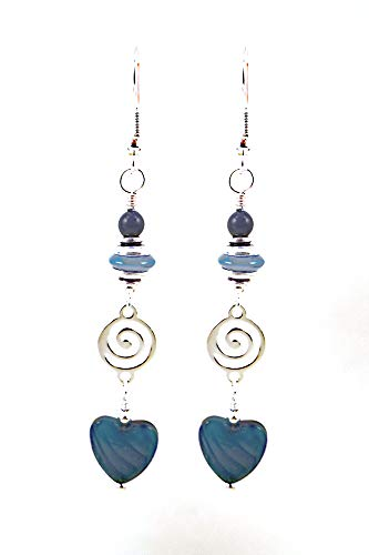- Long Blue Art Glass Heart Dangle Earrings for Valentine's Day