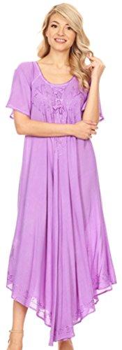 Sakkas Lilia gestickte schnüren sich oben Mieder Relaxed Fit Maxi Sommerkleid Lila 8848yKd