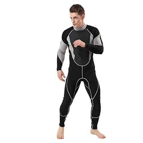 Allywit Wetsuit 3MM Full Body Suit Super Stretch Diving Suit Swim Surf Snorkeling Swimming Jumpsuit Gray ()