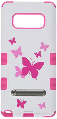 MyBat Cell Phone Case for Samsung Galaxy Note 8 - Butterfly Dancing/Hot Pink with Metal Stand Image