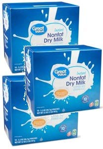 Great Value Nonfat Instant Dry Milk, 32 oz (10 count, 3.2 oz each) (Pack of 3) by Great Value