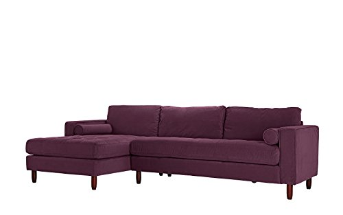 Divano Roma Furniture Mid-Century Modern Tufted Velvet Sectional Sofa, L-Shape Couch with Extra Wide Chaise Lounge ()