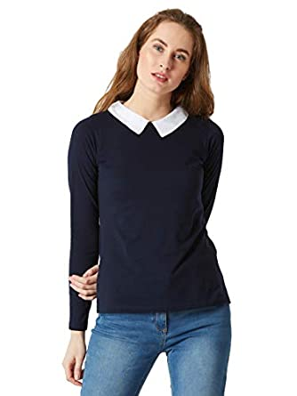 Miss Chase Women's Cotton Full Sleeve Collared Top