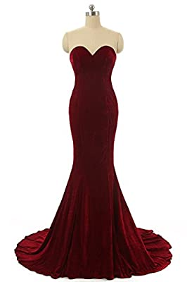 YuNuo Women's Off Shoulder Long Red Mermaid Bridesmaid Party Dresses Evening Gown