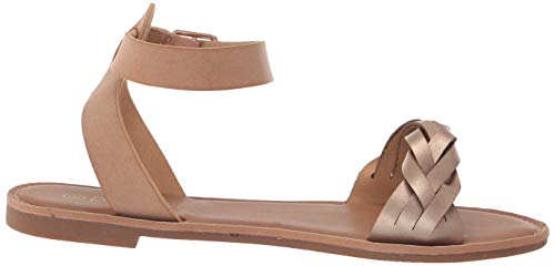 DREAM PAIRS Gold Nude Summer Sandals for Women Casual Open Toes Ankle Straps Buckle Fashion Flat Sandals, Soft Faux Leather Braided One Band Comfortable Slingback Dress Cute Flat Shoes Size 5 M US