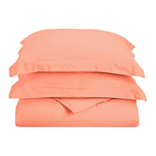 Superior 100% Brushed Microfiber Duvet Cover Set, Twin/Twin XL, Coral