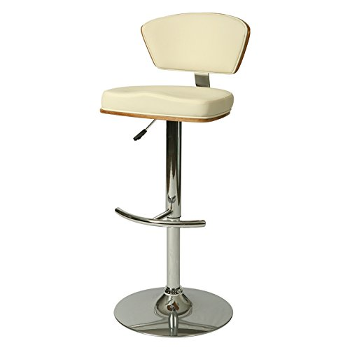 Creative Images International Minimalist Collection Height Adjustable Walnut Wood Swivel Bar Stool with PU Cushioned Backrest and Seat and a Stainless Steel Base, Ivory (Minimalist Outdoor Furniture)