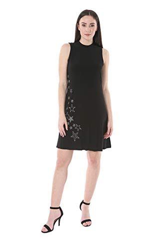 bebe Women's Sleeveless Mock Neck Heatfix Stars Shift Dress Black 14