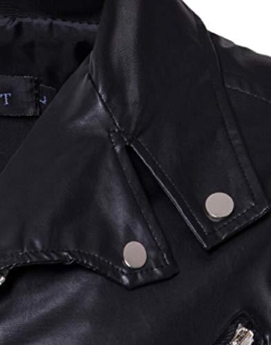 Collare Pelle Girano Giacche Faux Antivento Mens Giù Moto Di Nero Ttyllmao Motociclisti nC18Bwfxq
