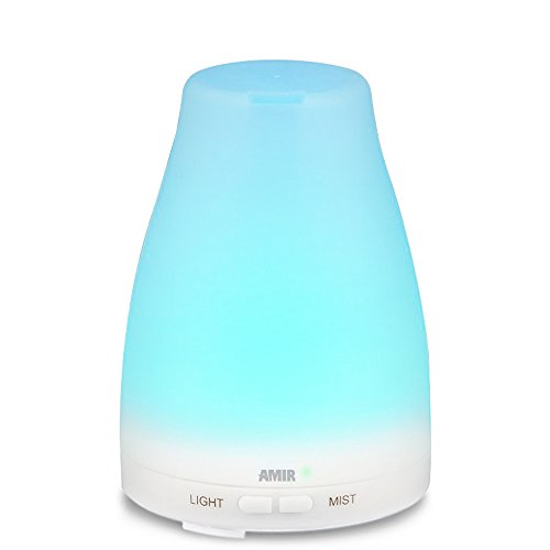 AMIR 100ml Oil Diffuser, Aromatherapy Essential Oil Diffuser Ultrasonic Mist Air Humidifier with Color Changing LED Lights, Waterless Auto off, Portable for Home, Yoga, Bedroom, Etc [Energy Class A+]