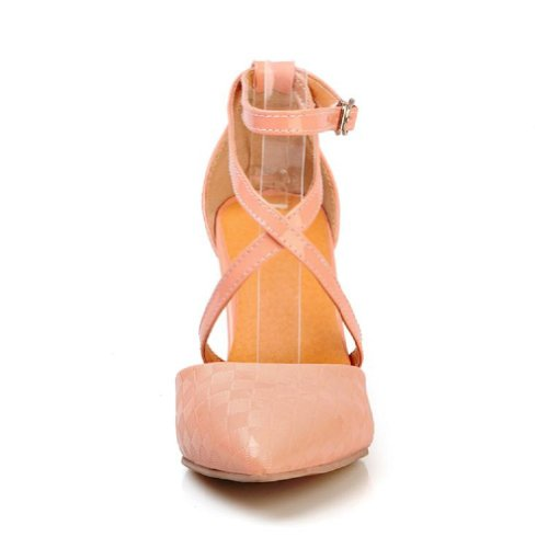Charme Voet Mode Kruisband Dames Hoge Hak Wees Pumps Schoenen Roze