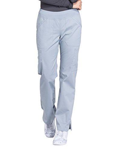 Cherokee WW Professionals WW170 Mid Rise Straight Leg Pull-On Pant Grey XS Petite ()