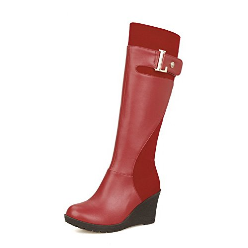 Allhqfashion Women's Kitten Heels Solid Round Closed Toe Soft Material Zipper Boots Red