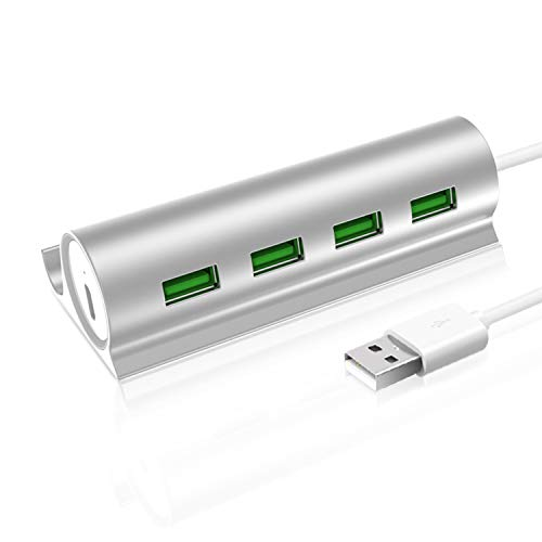 4 Port USB Hub with Phone Holder Stand,USB Charger Adapter with Micro USB Port Compatible for Mac, iphone, PC, USB Flash Drives and USB Enabled -