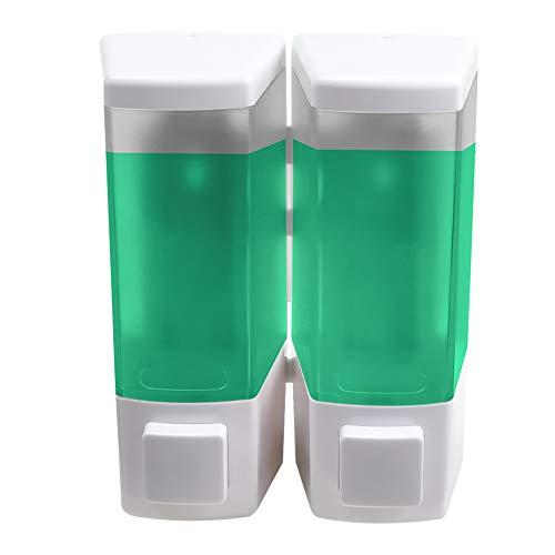 AILELAN Shampoo Dispenser, 2-Chamber Shower Soap Dispenser, Wall Mounted Shampoo and Conditioner Dispenser, 16.9 Ounces/Chamber, White