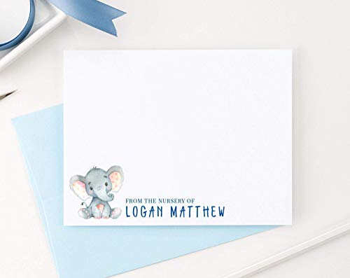 Elephant Baby Thank you cards, Elephant Thank you cards Baby Shower Boy, Personalized baby shower thank you cards,Your Choice of Colors and Quantity