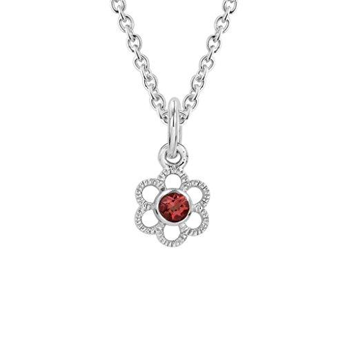 Ruby Flower Pendant - Diminuettes Sterling Silver Children's Ruby July Birthstone Flower Pendant
