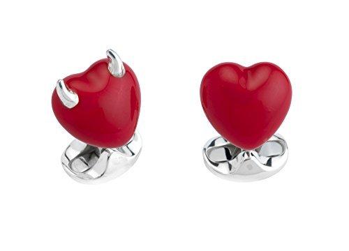 Deakin & Francis Sterling Silver Good & Bad Heart Cufflinks by Deakin and Francis