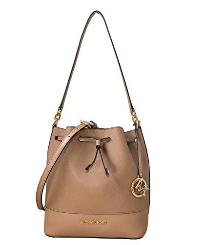 (Michael Kors Trista Medium Drawstring Bucket Leather Shoulder Crossbody Bag in Various Colors (Dark Khaki))