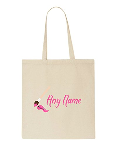 Tote Teacher Shopper Beige Personalised School Paint Brush Bag And Appreciation Back With Pink Text Gift To w7ASq