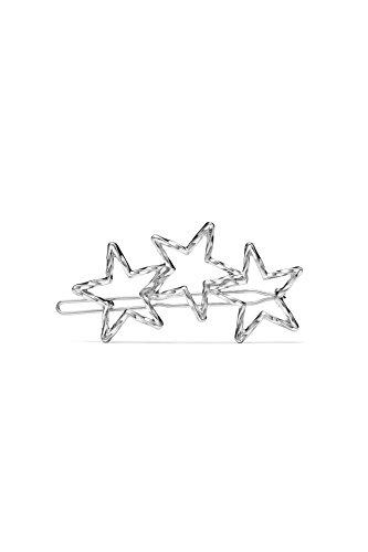Hair Clip Barrette Triple Stars Molten Lava Metallic Women & Girls Accessories (Silver)
