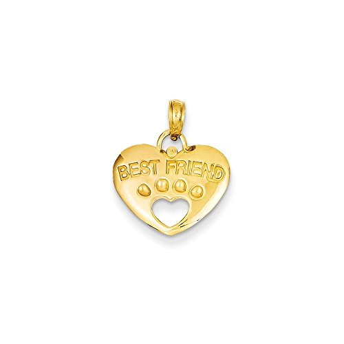 14k Yellow Gold Best Friend Dog on Heart with Cut-Out Paw Pendant (14k Yellow Dog Gold)
