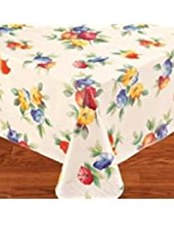 Attrayant Water Flower Flannel Backed Vinyl Tablecloth, 70 Inch Round