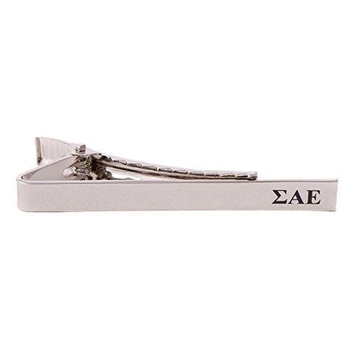 Desert Cactus Sigma Alpha Epsilon Fraternity Silver/Gold Engraved Letter Tie Bar Greek Formal Occasion Standard Length Width SAE (Silver Letter Tie Bar)