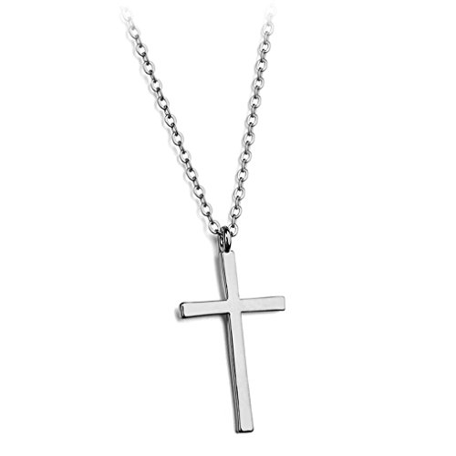 Emerald Silver Plated Cross - Simple Smooth Cross Pendant Necklace Fashion Jewelry 18