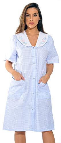 (8511-Blue-L Dreamcrest Short Sleeve Duster/Housecoat/Women Sleepwear)