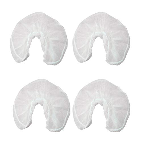 Healifty 50pcs Disposable Headrest Covers Massage Face Rest Covers Non-Woven Fabrics U Shaped Pillowcase for Hotel Travel (White)
