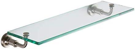Ginger 4534T-24 SN Columnar 24 Tempered Glass Bathroom Toiletry Shelf, Satin Nickel