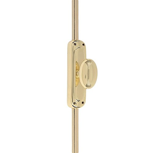 A29 9 Feet Solid Brass Oval Door Cremone Bolt, Polished Lacquered (Lacquered Vintage Brass Door)