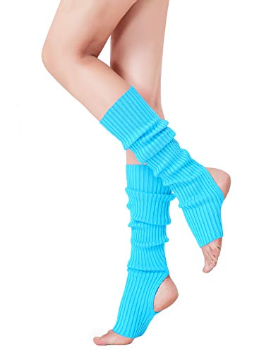 Leg Warmer, V28 Women Ladies Girl Fashion Warm Winter Ribbed Cable Knit Crochet (uphole-lakeblue)