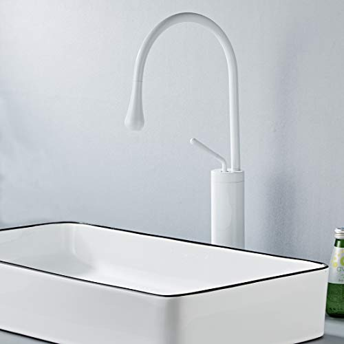- Bath Sink Vessel Faucet White Solid Brass, Swivel Gooseneck Spout Creative Mixer Tap, Water Drop Modern Design, Lavatory Single Handle Faucet (Water Drop White)