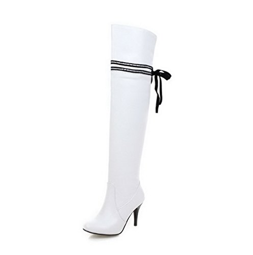 Allhqfashion Women's High-top Solid Zipper Closed Round Toe High-Heels Boots White JdROkC4QCy
