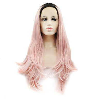 MENRY Mujer Peluca Lace Front Sintéticas Largo Ondulado Natural Negro/Rosa Pelo Ombre Raíces oscuras