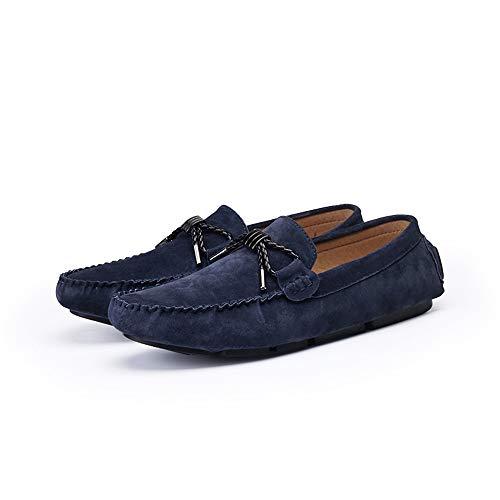 Guida Slip Cricket Scarpe da Uomo Confortevole Vamp Mocassini in Vera Mocassino On Scamosciata Shoes Pelle da Blu da Leisure xXqHP4w