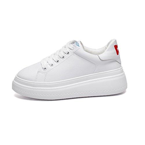 Haute cm Simple Femme Blanc 5 Cuir Style de Chaussure 5 JRenok Blanc en Lacets Loisir Talon Mode Confort Casuel Compensé à Mocassins 8Bqdx7H